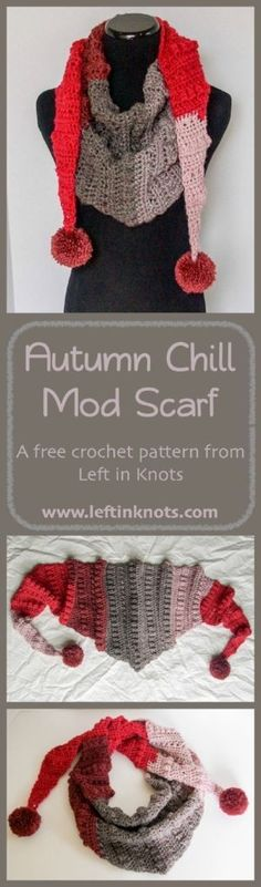 A free and modern crochet pattern perfect for your stylish fall and winter wardrobe. Made with Caron Cakes yarn or any other worsted weight yarn of your choice! mit Bommel häkeln Autumn Chill Mod Scarf - Free Crochet Pattern — Left in Knots Crochet Scarves, Crochet Shawl, Crochet Clothes, Crochet Hooks, Free Crochet, Knit Crochet, Autumn Crochet, Caron Cakes Patterns, Crochet Triangle Scarf