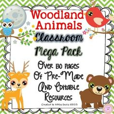 Woodland Themed Classroom Decor Pack. This editable classroom pack includes everything you need to decorate your Woodland Animals themed classroom. Everything in this pack is editable for your convenience.Includes:-Multi-use labels in different colors and sizes.-Calendar Months-Calendar Days of the Week-Calendar Numbers (1-36) Multi-use*-Classroom Rules -Classroom Schedule Cards-Welcome Banner-Make Your Own Banner-Pennant-Table Numbers-Word Wall Headers-Name Plates-Book Basket Labels-Binder…