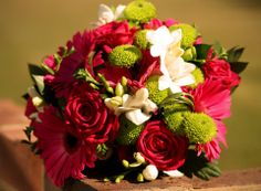 Cerise pink and lime green bouquet Cerise Pink, Wedding Flowers, Lime, Bouquet, Green, Plants, Lima, Bunch Of Flowers, Limes