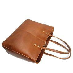 Leather Tote Bags Full-Grain Cowhide Large Tote Bag Brown