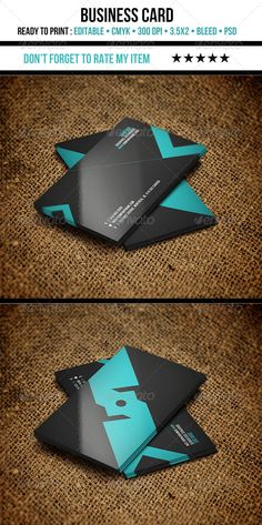 Modern Business Card #GraphicRiver Mmodern Business Card. All the texts or shapes are layered and editable. • 3.5×2 ( with bleed 3.75×2.25) • CMYK • layered •