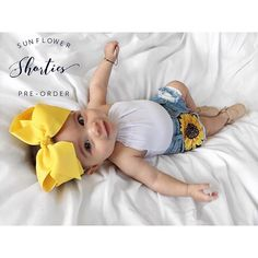 "@boho.babes.denim is taking preorders of sunflower shorties on their Facebook ""boho babes denim, llc"" get them while you can! Little Girl Outfits, Cute Outfits For Kids, Cute Kids, Cute Babies, Baby Kids, My Baby Girl, Baby Love, Baby Girl Fashion, Kids Fashion"