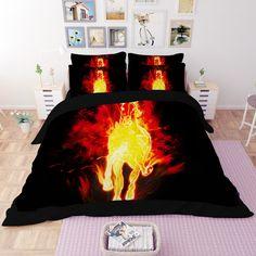 hot sale 3D black white horse animal design twin queen king bed sheet set bedclothes duvet cover set bedding set #Affiliate
