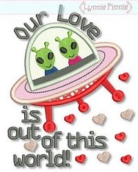 Alien Love Applique - 3 Sizes! | Valentine's Day | Machine Embroidery Designs | SWAKembroidery.com Lynnie Pinnie