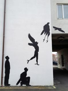 street art - we all wish we could do this...well  fly, not turn into a bird...