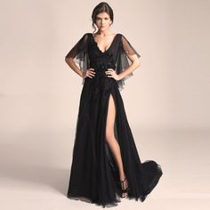 Find More Evening Dresses Information about Black High Bifurcation Evening Dresses With Beaded Crystal V Neck Evening Gowns Lace Tulle A Line Cap Sleeve Long Dress E095,High Quality dress up junior girls,China dress clean Suppliers, Cheap dress shoes tall women from Cinderella Dreaming Dresses on Aliexpress.com