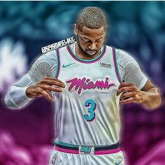 Miami Heat Basketball, Basketball Shirts, Basketball Legends, Nba Pictures, Cool Pictures, Dwyane Wade, Sports Art, Sports Pics, Nba Kings