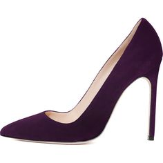 Manolo Blahnik BB Suede 115mm Pump (15 170 UAH) ❤ liked on Polyvore featuring shoes, pumps, heels, footwear, zapatos, high heel pumps, plum pumps, heel pump, pointy toe pumps and manolo blahnik shoes