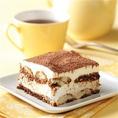 Make-Ahead Tiramisu Recipe -This variation of the popular Italian dessert is so easy to assemble. It's convenient, too, since you can make it the day before your dinner party or potluck. —Linda Finn, Louisville, Mississippi