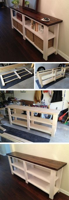 out how to make a DIY wooden rustic console table from DIY Home Decor. Check out how to make a DIY wooden rustic console table from DIY Home Decor.Check out how to make a DIY wooden rustic console table from DIY Home Decor. Rustic Console Tables, Rustic Table, Rustic Farmhouse, Table Bench, Wooden Console, Entryway Console, Farmhouse Ideas, Rustic Wood, Foyer Mirror