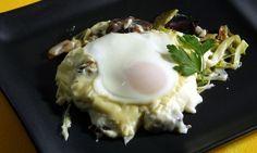 Receta de Huevos al graten con mollejas de pato