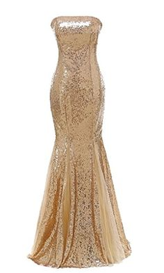 Himoda Womens Gold Mermaid Bridesmaid Dresses Sequins Backless Prom Party Gown H073 Gold ** Click for Special Deals #HomecomingDresses2017