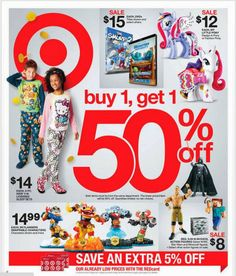 A New Target Ad has arrived! Buy One, Get One 50% off! 4 Days Only! 12/18-12/21
