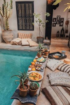 Breakfast in the pool Marrakech Morocco. Photo by - Breakfast in the pool Marrakech Morocco. Photo by - Boho Home, Bali Style Home, Pool Designs, Home Look, Outdoor Spaces, Outdoor Pool, Outdoor Living Patios, Outdoor Plants, Outdoor Seating