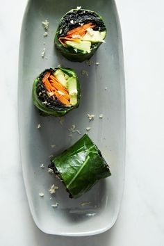Great vegetarian appetizer: Collard vegetarian rollups with with curry coconut, avocado, and kale. The recipe looks fantastic.