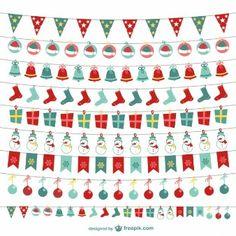 Colección de banderines navideños