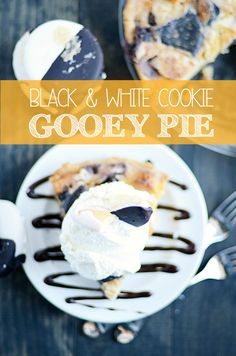 Classic NYC Black and White Cookies turned into a delicious, gooey pie!