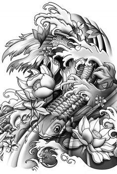 Koi Half Sleeve Tattoo Drawing