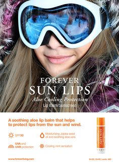 Forever sun lips. Don't forget about your lips when your out on the slopes! This is a water-resistant lip balm with broad spectrum SPF30 protection. It's perfect for your ears too!! Check out www.foreveraloeaberdeen.myforever.biz/store for more skin ski essentials. #skiing #snowboarding #wintersun #snow