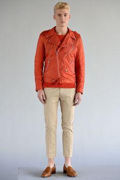 orange bomber jacket tan pant - j. lindeberg - spring 2013 rtw #nyfw