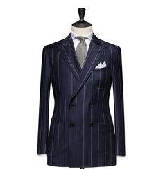 Tailored 2-Piece Suit - Fabric 4534 Stripe Blue