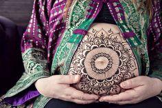 Henna belly design