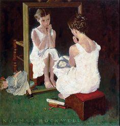 Fille au miroir de Norman Rockwell, 1954