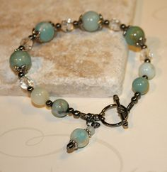 Amazonite bracelet, Amazonite gemstone handmade bracelet, green and aqua.