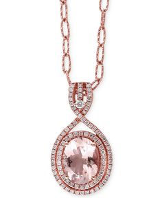 Blush by EFFY® Morganite (2-1/3 ct. t.w.) and Diamond (3/8 ct. t.w.) Pendant Necklace in 14k Rose Gold - Necklaces - Jewelry & Watches - Macy's