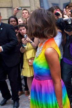Miroslava Duma in rainbow resort from Christopher Kane