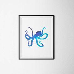 Blue Octopus Print Geometric Print Geometric Wall Art