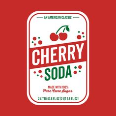 Check out this awesome 'Cherry+Soda+Label+Design' design on Pop Design, Label Design, Packaging Design, Print Design, Graphic Design Posters, Graphic Design Inspiration, Typography Design, Cherry Logo, Colorful Wall Art