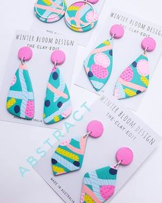 Theses beauties plus heaps more will be available online this Sunday night 8pm @giftsatteacup so set your alarm to avoid disappointment #oneofakind #pastel #candypink #polymerclay #statement #dangles #earrings #madeinaustralia