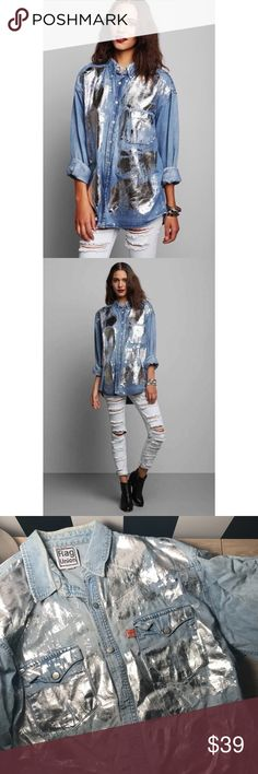 Denim Long Sleeve Shirt with Silver Foil A longline denim/chambray shirt with silver foil detail - never worn or washed to my knowledge. Unisex - I've seen both men and women rock this shirt online! Urban Outfitters Tops Button Down Shirts