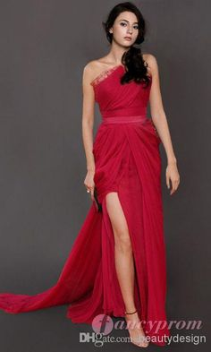 Hot selling red chiffon sheath evening dresses one shoulder backless sexy side slit floor length sleeveless prom gowns