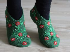 Women Socks Slippers, Size 8 1/2 - 9, Hand knitted slippers in green, Turkish Slippers, Traditional embroidery, socks, clothing, $25