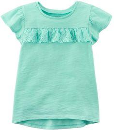 Toddler Girl Carter's Ruffle Hi-Lo Tee Kids Girls Tops, Baby Girl Tops, Carters Baby Girl, Girls 4, Toddler Girls, Little Girl Outfits, Girly Outfits, Kids Outfits, Baby Shirts