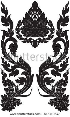 floral wings with twins dragon heads and giant face vector illustrations, tattoos, stickers, images / southeast asia art design