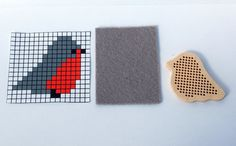 Bird's shaped wooden embroidery kit / modern by TinyLizardGifts