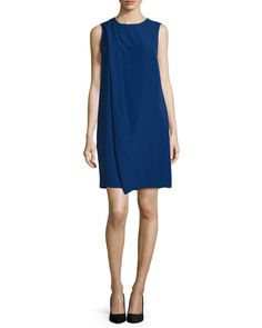 "Armani Collezioni cady dress. Approx. 36""L down center back. Jewel neckline. Sleeveless; moderate shoulder coverage. Shift silhouette; front drape detail. Side seam pockets. Hidden back zip. Polyester"
