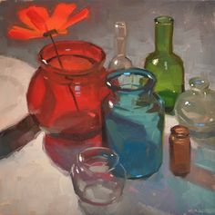 """Daily Paintworks - """"Back Me Up, Bottles"""" - Original Fine Art for Sale - © Carol Marine Still Life Drawing, Painting Still Life, Still Life Artists, Hyperrealism, Gouache, Painting Inspiration, Painting & Drawing, Illustration Art, Fine Art"""