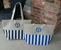 d4124cd8c9 Personalized Monogrammed Striped Beach Bag with Handles - Monogram Jute Bag  - Black