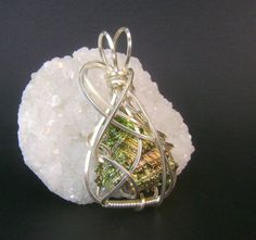 Green bismuth crystal pendant silver wire wrap by FeathersnThingz