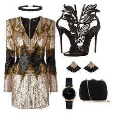 """Gold dress"" by sjpj on Polyvore featuring Balmain, Giuseppe Zanotti, Humble Chic, Freedom To Exist and Serpui"