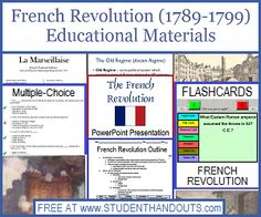 French Revolution - Free outline, powerpoint, worksheets, study games, and more, for high school World History.