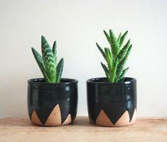 Black Mountain Planters - set of two small speckled planters, black ceramic plant pot triangle zigzag geometric design, stoneware flower pot...