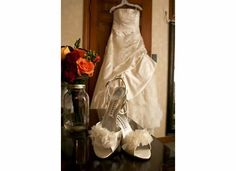 My wedding shoes with gown & flowers. #wedding #shoes #flowers #bride