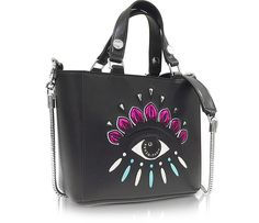98c9e064aab Kenzo Black Leather Small Eye Tote w Shoulder Strap at FORZIERI Shoulder  Strap