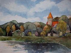 Middelhagen im Herbst (c) Aquarell von Frank Koebsch