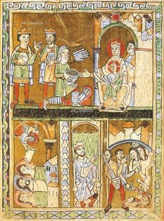 Adoring the Magi, Herrod and the massacre of the innocents, miniatures from the Gospels of the great festivities, manuscript, France, 13th Century, Vercelli, Biblioteca Capitolare (Library)